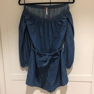 Free people jean romper